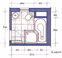 Schon Dieses Badezimmer Ermöglicht Auf Kleinstem Raum Wanne, Dusche, WC Und  Waschtisch.